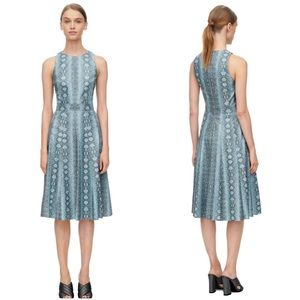 Rebecca Taylor Snake Print Fit and Flare Dress